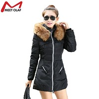 2017 Women Winter Coat Cotton Padded Jacket Hooded Faux Fur Collar Womens Winter Long Jackets And Coats Parkas Wadded YL033