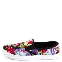 Floral Print Canvas Slip-On Sneakers by Charlotte Russe - Floral