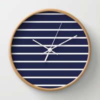 Navy White Stripe Pattern Wall Clock by RexLambo | Society6
