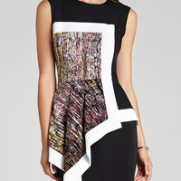 Black Round Neck Sleeveless Patchwork Bodycon Dress