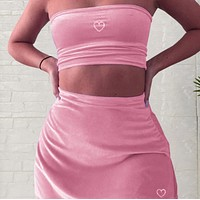 Women's sexy heart-shaped hot diamond wrapped chest high waist bag hip skirt suit