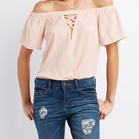Ruffle Off-The-Shoulder Bodysuit