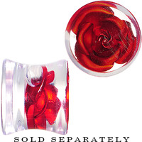 00 Gauge Clear Acrylic Floating Red Metallic Rose Plug   Body Candy Body Jewelry