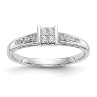 14k White Gold Multi-Stone Square and Channel Set Diamond Engagement Ring