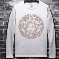 Versace autumn and winter new men's hot drilling round neck trend long-sleeved shirt white