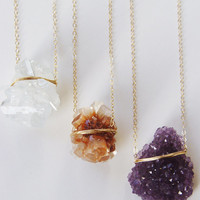 SALE Layering Crystal Gold Necklace Rough Stone