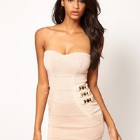 Lipsy Bandage Bodycon Dress with Studs at asos.com