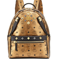 MCM Dual Stark Small Backpack, Gold