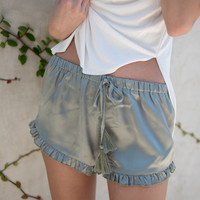 Rhea Satin Shorts in Jade