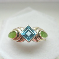 Vintage Sterling Silver Blue Topaz and Gaspeite Ring Size 6