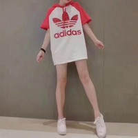 """Adidas"" Fashion Casual Letter Sequin Multicolor Short Sleeve Hooded Medium Long Section T-shirt Mini Dress"