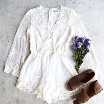 final sale - Reverse - road to nowhere gauzy lace romper with bell sleeve - more colors