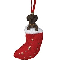 Chocolate Labrador in Stocking Christmas Ornament