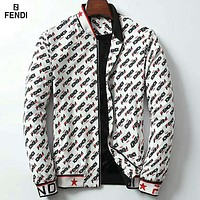 Fendi new men's full printed logo trend fashion wild cardigan jacket White