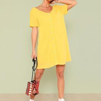 Double V Neckline Shirt Dress