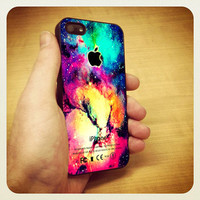 iPhone Case - TB46 Colorful Galaxy Nebula Apple Logo - Design on Hard Cover - iPhone 4 Case, iPhone 4S Case and iPhone 5 Case