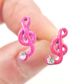 Music Themed Treble Clef Shaped Stud Earrings in Pink | DOTOLY