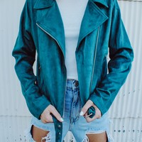 Bailey Suede Moto Jacket (Teal)