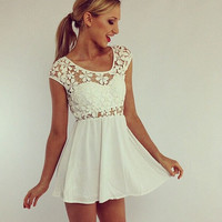 White Floral Lace Patterned A-Line Dress