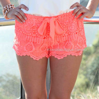 PRE ORDER - ONE FINE DAY LACE SHORTS (Expected Delivery 31st March, 2014) , DRESSES, TOPS, BOTTOMS, JACKETS & JUMPERS, ACCESSORIES, 50% OFF SALE, PRE ORDER, NEW ARRIVALS, PLAYSUIT, COLOUR, GIFT VOUCHER,,SHORTS,LACE,Orange,MINI Australia, Queensland, Brisba