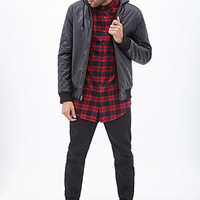 Hooded Faux Leather Bomber Black