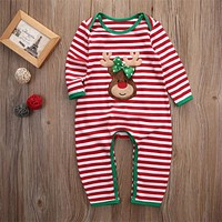 2016 Christmas Baby Girls Boys Clothes Newborn Infant Bebes Striped Romper Kids Christmas Costume Clothing 0-24M