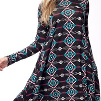 Aztec Print Turtleneck Dress