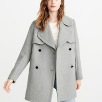 Womens Classic Wool-Blend Peacoat | Womens New Arrivals | Abercrombie.com