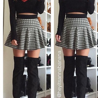 Houndstooth Flared Skirt - FINAL SALE