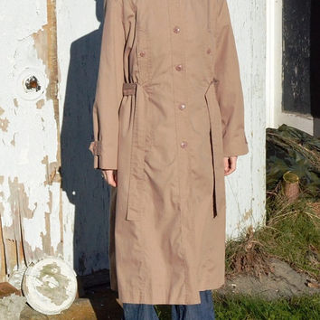 Vintage Mulberry Street Size M Trench Coat, Belted Muted Dusty Rose Light Weight Trench Coat, Belted Women's Spring Trench Coat