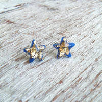 SALE FREE SHIPPING Dark blue-gold stars stud earrings. Valentine Day Jewelry. Cute polymer clay stud earrings with real gold leaf.