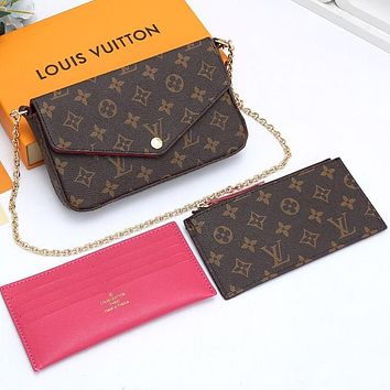 LV Louis Vuitton sells fashionable three-piece ladies' one-shoulder cross-body bags with a wallet clip