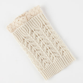 Crochet Trim Boot Cuff Socks Ivory One Size For Women 26658616001