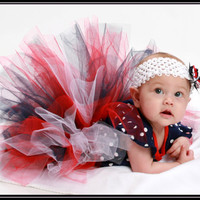Captain America Avengers Tutu, Navy, Red, White with Bow - Geek-a-bye Baby Clothing - Comic Geek - Available in Many Sizes
