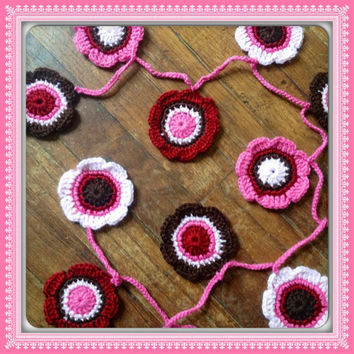 Hand Crochet Garland Small Nursery Decor Doily Decoration 16 Flowers Doily Bunting Banner- Apple Red Brown, Bubblegum and Cotton Candy Pink