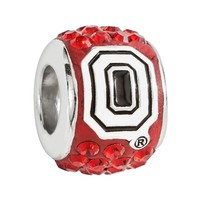 LogoArt Ohio State Buckeyes Sterling Silver Crystal Logo Bead - Made with Swarovski Elements (Red)