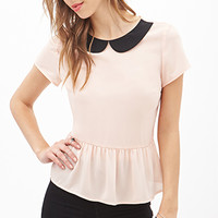 FOREVER 21 Peter Pan Collar Peplum Top Peach/Black