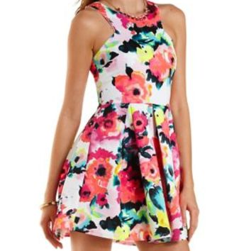 Neon Floral Racer Front Skater Dress by Charlotte Russe - Coral