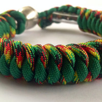 Jamaican Me Crazy and Green 550 Paracord Hidden Pipe Bracelet w/ FREE SHIPPING