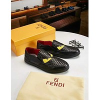 Fendi 2018 new wild woven men's casual lazy shoes sports shoes White