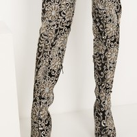 AKIRA Over The Knee Embroidered Sequin High Chunky Heeled Boots in Black