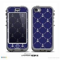 The Navy Blue & White Seamless Anchor Pattern Skin for the iPhone 5c nüüd LifeProof Case