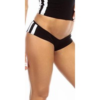 Sexy Neon Trim Triple Stripe Fitness Core Mini Work Out Shorts - Black/White