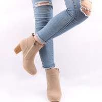 Suede ankle boots with 3 inch block heels