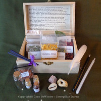 Witches Herb Box - Wicca Starter Kit - Beginner Witch - Spells & Incense - Sabbat Gift - Occult ceremony tools. Pagan - Caterpillar Queen