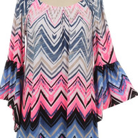 Neon Pink and Blue Chevron Tunic Top Plus Size (2XL)