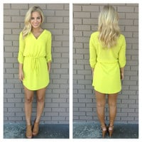 Luminous Yellow 3/4 Sleeve Drawstring Dress