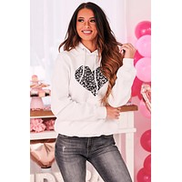 Leopard Heart Graphic Hoodie (White) - Print On Demand