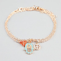 Full Tilt 3 Piece Pyramid/Peace/Hamsa Hand Anklets Gold One Size For Women 24234762101