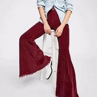 New Burgundy Buttons High Waisted Bell Bottom Extreme Flare Vintage Long Pants